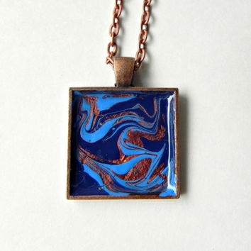 "Pendant Hand Painted Necklace ABSTRACT ART Antique Copper 25 mm with 24"" Rolo Chain Necklace"