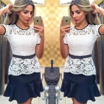 New Women White Patchwork Lace Bow Peplum Round Neck Cute Mini Dress