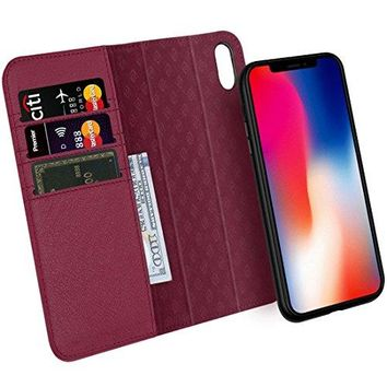 Zover iPhone X Case Detachable Genuine Leather Wallet Case With Auto Sleep/Wake Function Support Wireless Charging Magnetic Car Mount Holder Kickstand Feature Magnetic Closure Gift Box Wine Red