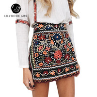 Boho Style Embroidery Black Floral Short Skirt Ethnic Autumn Winter High Waist Slim Women Skirt Vintage 90's Mini Skirts