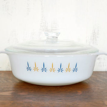 Fire King Candle Glow Casserole Dish, Milk Glass Ovenware, Glass Lid, 1.5 Quart , Anchor Hocking