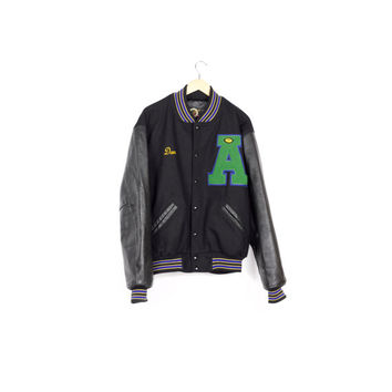 mint DEHEN black warriors varsity jacket / wool & leather / letterman / portland / pendleton / warm winter coat / athletic / mens L - XL