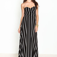 CONVERTIBLE STRIPED MAXI DRESS
