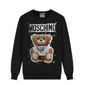 MOSCHINO new simple wild brooch bear round neck long-sleeved sweater