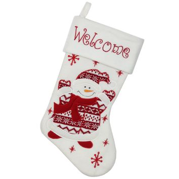 """15.75"""" Red and White """"Welcome"""" Snowman Embroidered Christmas Stocking"""