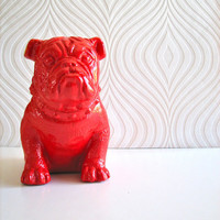 English Bulldog Statue in bright red