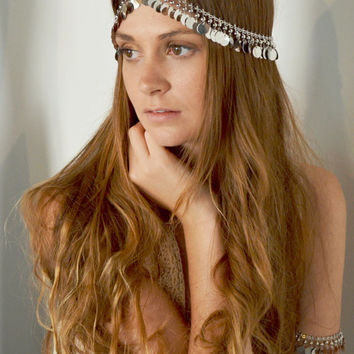 Boho Head Chain Headpiece Headband Hair Piece Bohemian Hipster Boho Hippie Silver Coin Chain Belly Dancing Bridal  Jewelry ZoraHP