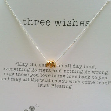 Three Wishes Sterling Silver Necklace, Good Luck Charm, Bridesmaid gift, Christmas Gift