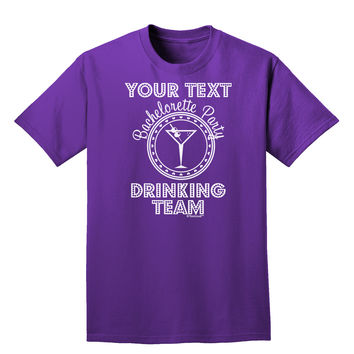Personalized -Name- Bachelorette Party Drinking Team Adult Dark T-Shirt