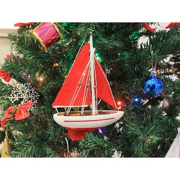 Wooden Red Sailboat Model with Red Sails Christmas Tree Ornament 9""