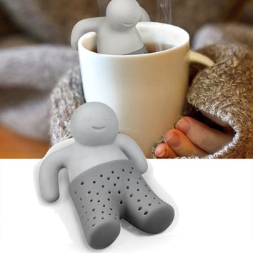 1 pc Hot sales Teapot cute Mr Tea Infuser Tea Strainer Coffee & Tea Set silicone Cute human shape Tea Filter Random Color