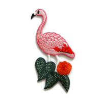 Flamingo Bird and Leaves Embroidered Applique Iron on Patch 5 cm. x 9.5 cm.