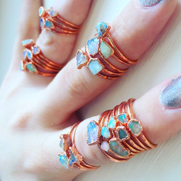 Stackable Opal Rings | Regular Midi Knuckle Rings | Stacking | Pastel Gems Copper Electroformed | Genuine Real Ethiopian Welo Opals | Dainty