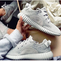 """Adidas"" Women Yeezy Boost Sneakers Running Sports Shoes Grey"