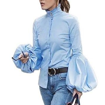 Long Wide Lantern Sleeve White Blue Blouse Women Button Down Shirts