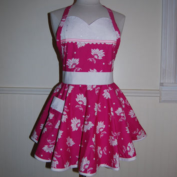 Pink and White Floral Full 2 Tier Circle Skirt Apron