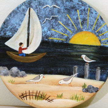 Beach Folk Art Primitive Nautical Theme Lid on Vintage Roseville Ohio Crockware Pottery Sunrise Sandy Beach Ocean Sailboat Seagulls