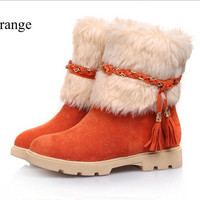 Girl's Winter Bownot Sweet Wedge Snow Boots = 1947026884