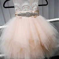 [67.99] Cute Tulle Jewel Neckline Tea-length Ball Gown Flower Girl Dresses With Lace Appliques - dressilyme.com