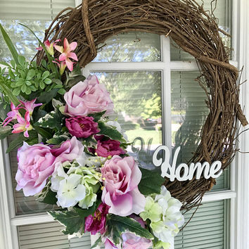 Handmade Floral Wreath | Spring Wreath | Pretty Pinks Floral Wreath | Door Wreath | Custom Made Wreath | Summer wreath | Mother's day gift