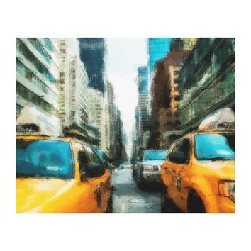 Yellow Taxi Cabs After Rain In New York City Canvas Print