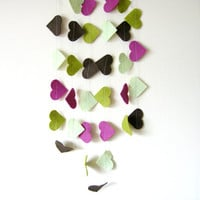 Felt Heart Garland - Felt Garland Bunting, kids room decor, colorful garland, green, purple, brown