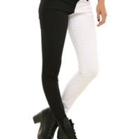 Royal Bones By Tripp White And Black Split Leg Skinny Jeans