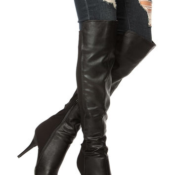 Black Faux Leather Over the Knee Pointed Boots