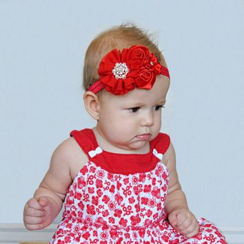 A happy Christmas baby headband newborn baby girl chiffon rose diamond flower hair bands elastic hair accessories