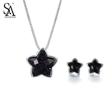 SILVERAGE 925 Sterling Silver Star Jewelry Sets Stud Earrings Pendants Necklaces Fine Jewelry Women Black Gemstone 11.11 Gift