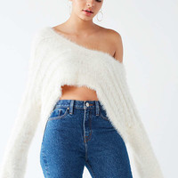 UO Leela Fuzzy V-Neck Pullover Sweater | Urban Outfitters