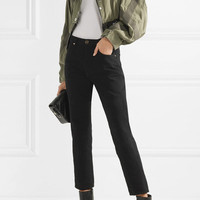 Alexander Wang - Cropped buckled cotton-gabardine and leather jacket