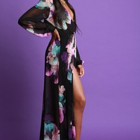 Large Floral Print Mesh Maxi Romper Dress
