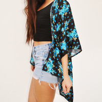 Kimono Style Cover Up Blue Roses