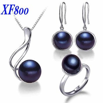 [XF800] Charming Brand Bridal Jewelry Sets ,9-10mm  fine jewelry pearl jewelry  pendant/earrings/ring for women SET06