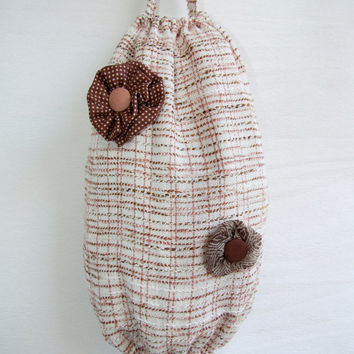 Fabric grocery bag holder. Bag dispenser. Plastic bag storage. Kitchen organizer. Excellent housewarming gift. Kitchen decor.
