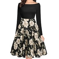 Berydress Womens Elegant Vintage Dress 50s 60s Winter Floral Retro Rockabilly Long Sleeve Pockets Midi Business Party Dress 2018