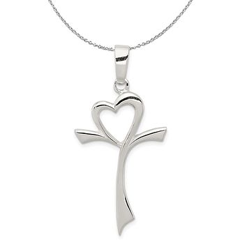 Sterling Silver Large Polished Heart Cross Necklace