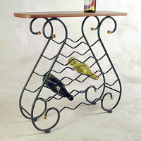 16 Bottle Wine Wrought Iron Wine Rack with Wooden Top Grace WN16WD