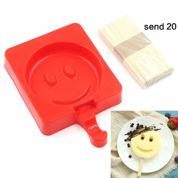 Silicone Ice Cream Mold With Wood Sticks Cartoon Smiling Face Popsicle Molds Ice Cube Tray Reusable Lolly Mold Popsicle Maker