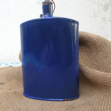 Vintage/antique military cobalt blue enamel water bottle, enamel canteen, militaria blue enamel water bottle soldiers water bottle dark blue