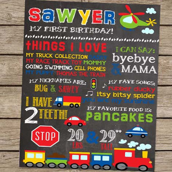 First Birthday Chalkboard Cars Trucks Planes Birthday Poster - PRINTED Car Party Truck Party Train Party First Birthday Boy Party Sign