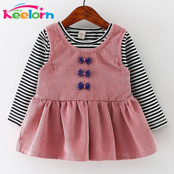 Keelorn Baby Girls Dress Black and White Stitching Sleeve Small Bow Princess Dress Children Clothing Newborn Lovely Dresses