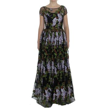 Dolce & Gabbana Black Floral Embroidered Full Maxi Dress