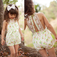 Summer Girls Kids Clothing Jumpsuits Rompers Princess Party Lace Floral Romper Playsuit Jumpsuit Girl Clothes 2-7Y