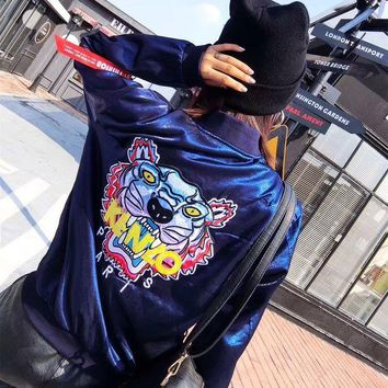 ONETOW Kenzo' Women Fashion Embroidery Tiger Head Letter Pattern Long Sleeve Zip Cardigan Jacket Coat