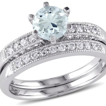 Aquamarine 3/4 Carat (ctw) with Diamond 1/3 Carat (ctw) Bridal Wedding Set Engagement Ring 10K White Gold