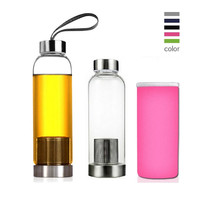 Universal 550ml BPA Free High Temperature Resistant Glass Sport Water Bottle With Tea Filter Infuser Bottle Cup Protective Bag
