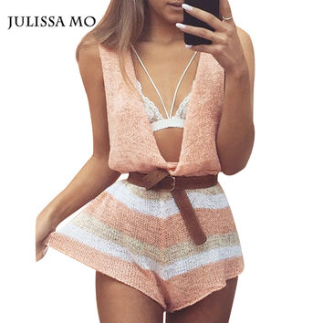 Julissa Mo  Sexy Deep V Neck Tahiti Knit Stripes Elegant Jumpsuit Romper Summer Sexy Short Beach Bodysuit Playsuit Boho Overalls