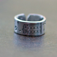 Tardis Ring - Hand Stamped Ring - Adjustable Aluminum Ring - Dr. Who Ring